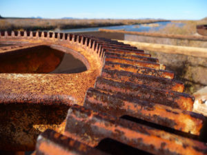 Rusty gears at the Gillespie Dam near Arlington, AZ.