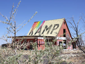 Abandoned KOA Kampground in Two Guns, AZ. Photo from 2013. The building is significantly worse now.